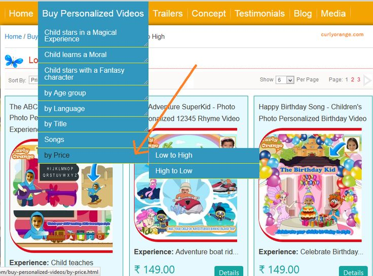 Curly Orange's new menu lets you see products or videos by price. Now search by low to high or high to low pricing. Select the videos that best fits your budget.