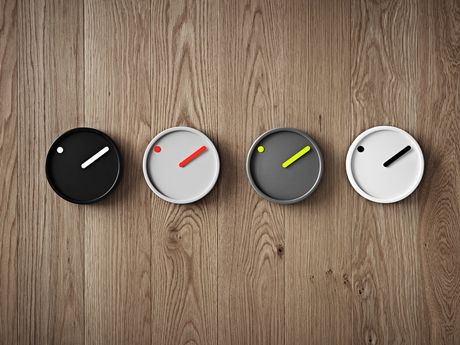 Picto Wall Clock Black and white, Ø 16 cm