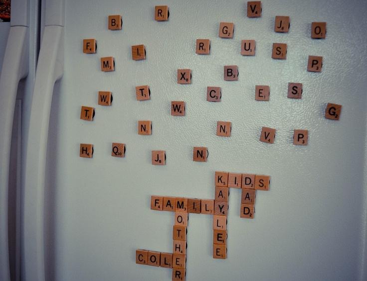 refrigerator scrabble: Scrabble Games, Scrabble Magnets, Fridge Scrabble, Refrigerators Scrabble, Cute Idea, Scrabble Piece, Scrabble Tile, Refrigerators Magnets, Christmas Gifts Idea