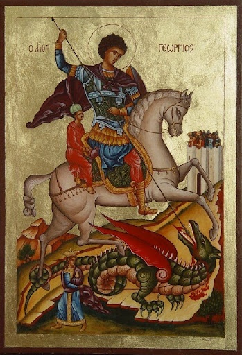 Russian icon:(St.George slaying the dragon.) Traditionally,he was a soldier in the Roman army and later died as a Christian martyr. The emperor Diocletian offered George riches and lands if he would sacrifice to the Roman gods;the Saint never abdicated his position or loyalty to Christ. He was beheaded on April 23,303.