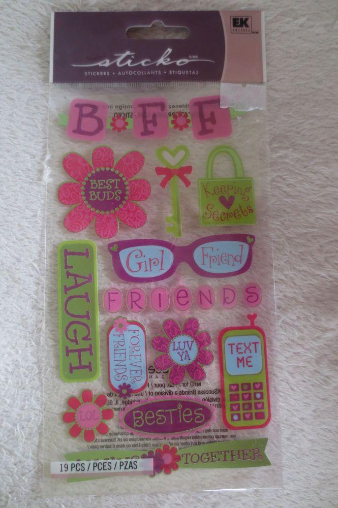 Ek Success Sticko Best Friends Dimensional Stickers New scrapbook #EkSuccess