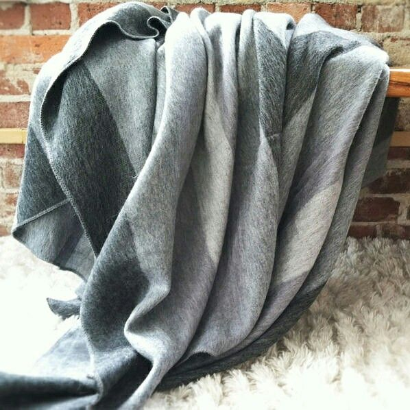 "💠SOFT & WARM GRAY STRIPED ALPACA LLAMA WOOL BLANKET PLAID 90""x70"" QUEEN  🔥$39.95"