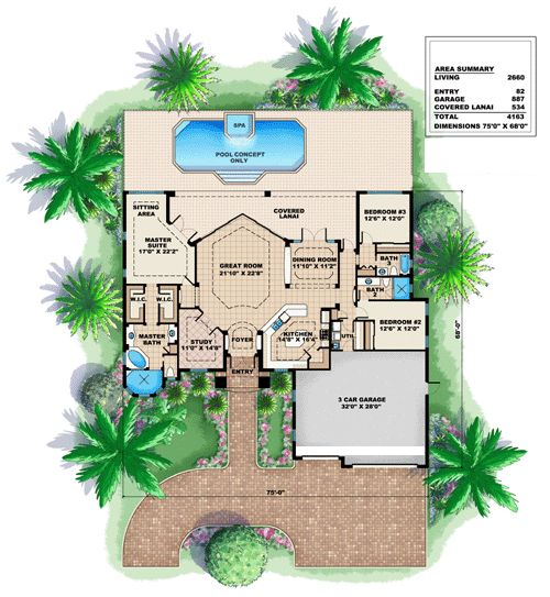 Mediterranean House Plan chp-39611 at COOLhouseplans.com