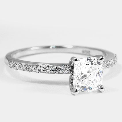 18K White Gold Petite Shared Prong Diamond Ring // Set with a 1.20 Carat, Cushio…