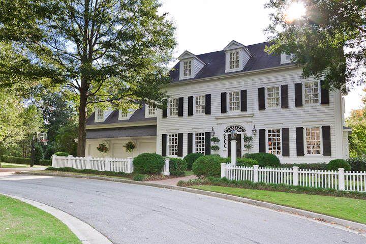 Classic house ~ white with black shutters  -  Linda Broughman via Carole Zanath  onto Favorite Houses