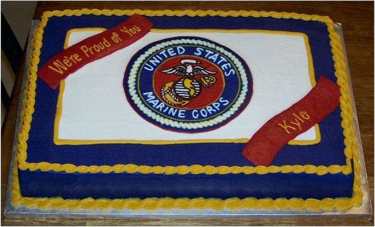 There are 3 FBCT's on top of this 11x18 sheetcake.  One is a full-top FBCT which contains the US Marine Corps emblem.  The other FBCT's are the 2 ribbons.