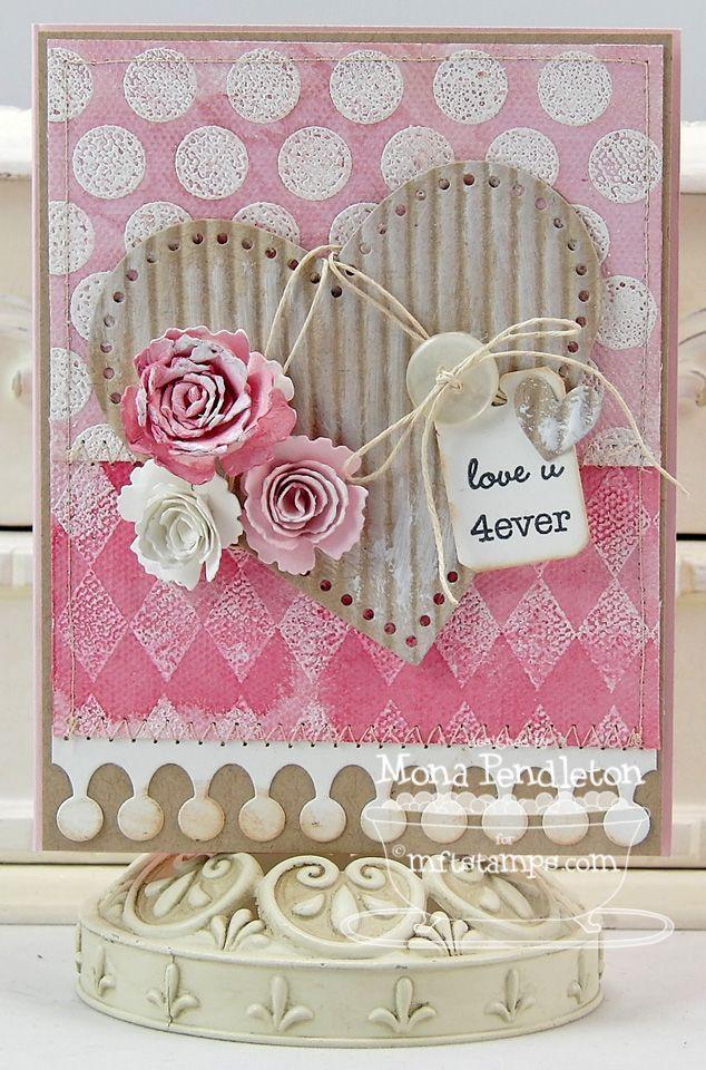 Открытка с сердечками скрапбукинга, открытка днем