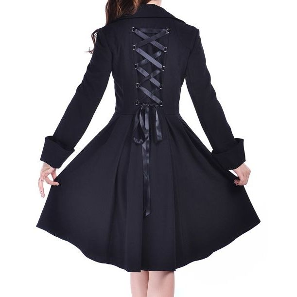 Classic rockabilly, double breasted trench coat with a va-va-voom swing skirt and satin corset lacing up the back! FREE shipping on orders over $100!