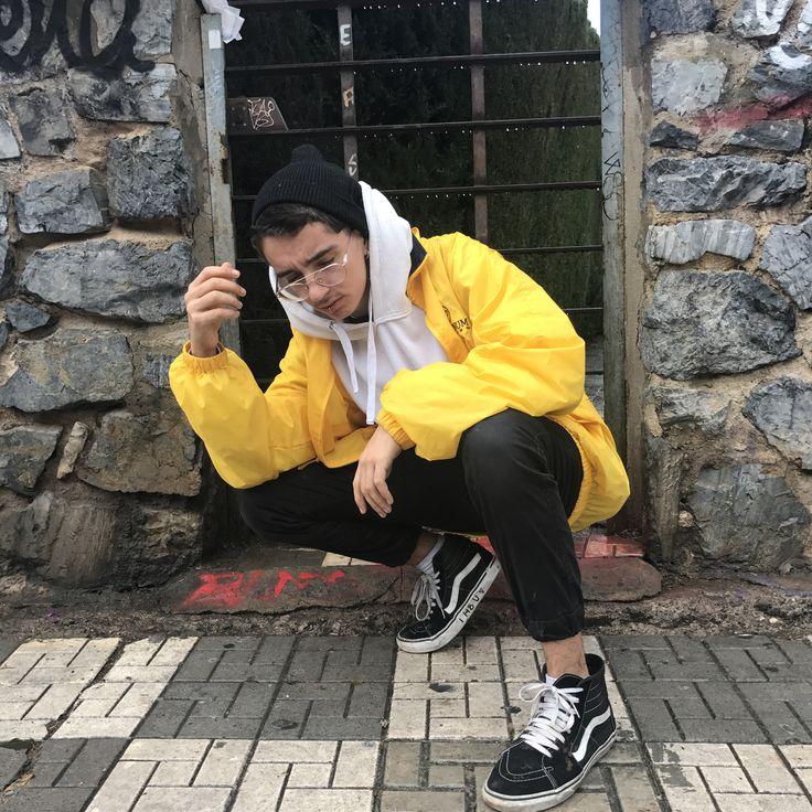Vans old skool, white hoodie, black hood, yellow jacket. #tumblr