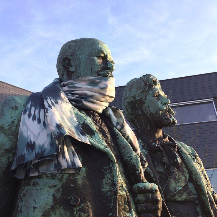 Famous Danish artists in fine matching SS16 scarf #silk #Skagen #Denmark #painters #sculpture #bronze #