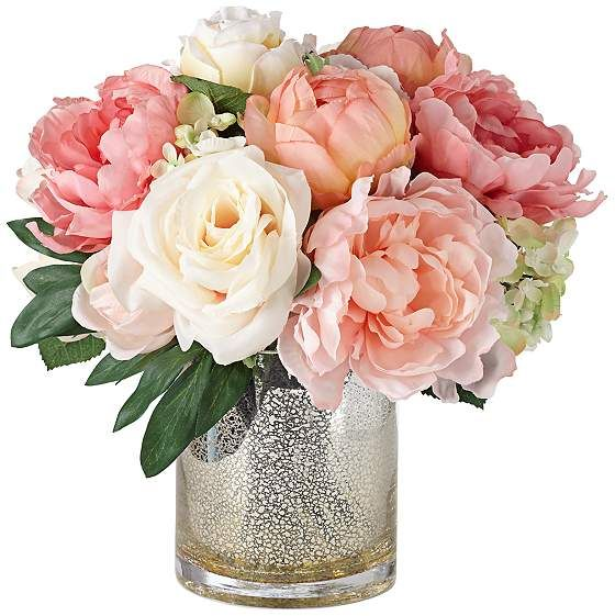 Peonies, Roses and Hydrangeas in a Mercury Glass Vase