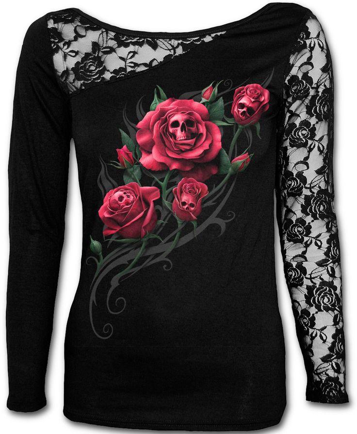 Camiseta Death Rose  #spiraldirect #rosas #calaveras #skull #rose #ropa #gotica #gothic #clothing #goth #xtremonline