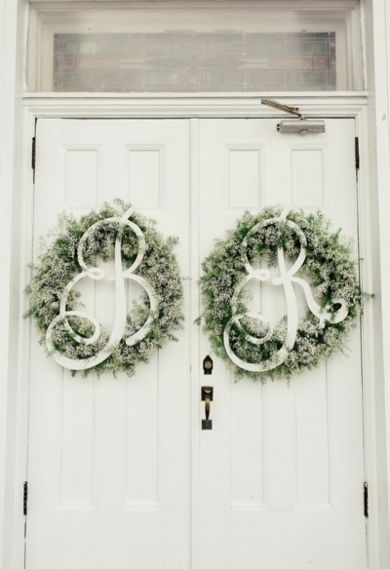 #Initial wreaths   Photo by: Brooke Images on Southern Weddings via Lover.ly