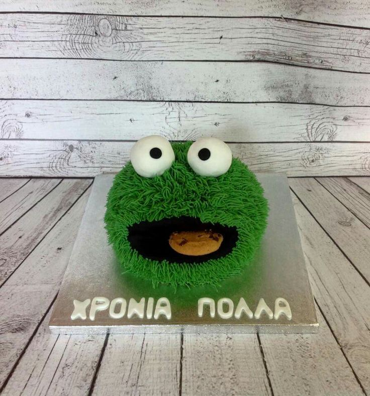 Green fury cookie monster cake