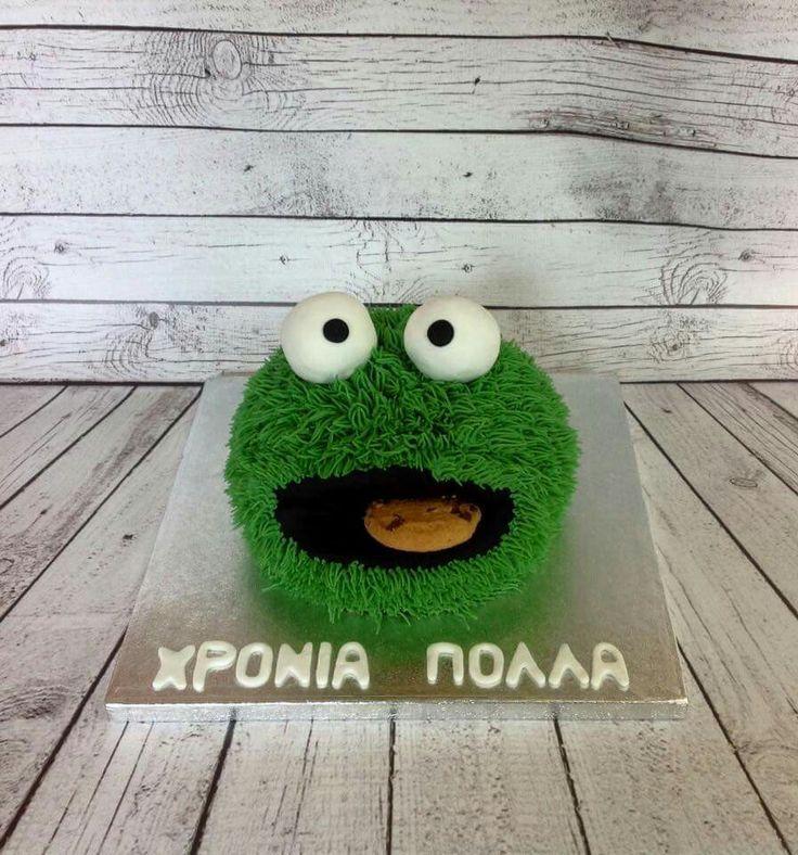 Green fury cookie monster cake
