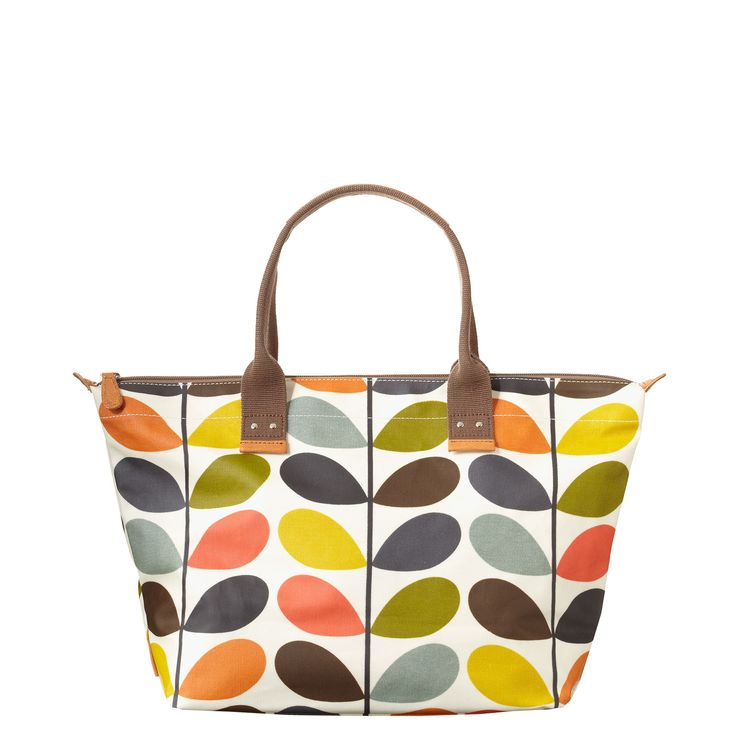 Orla Kiely: Matt laminate easy zip tote with zip closure. Webbing tape handles reinforced with stamped natural vegetable tan leather. Inside details include zip pocket and key chain. This bag is unlined.    Please avoid direct contact with dark clothing and denim as color may be transferred.