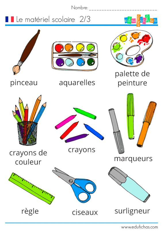Aprender francés, ficha de vocabulario escolar. 2 de 3.  #fichas #escolar #materiel #scolaire #francés #idiomas #infantil  http://www.edufichas.com/actividades/idiomas/frances/materiel-scolaire-vocabulario-frances/