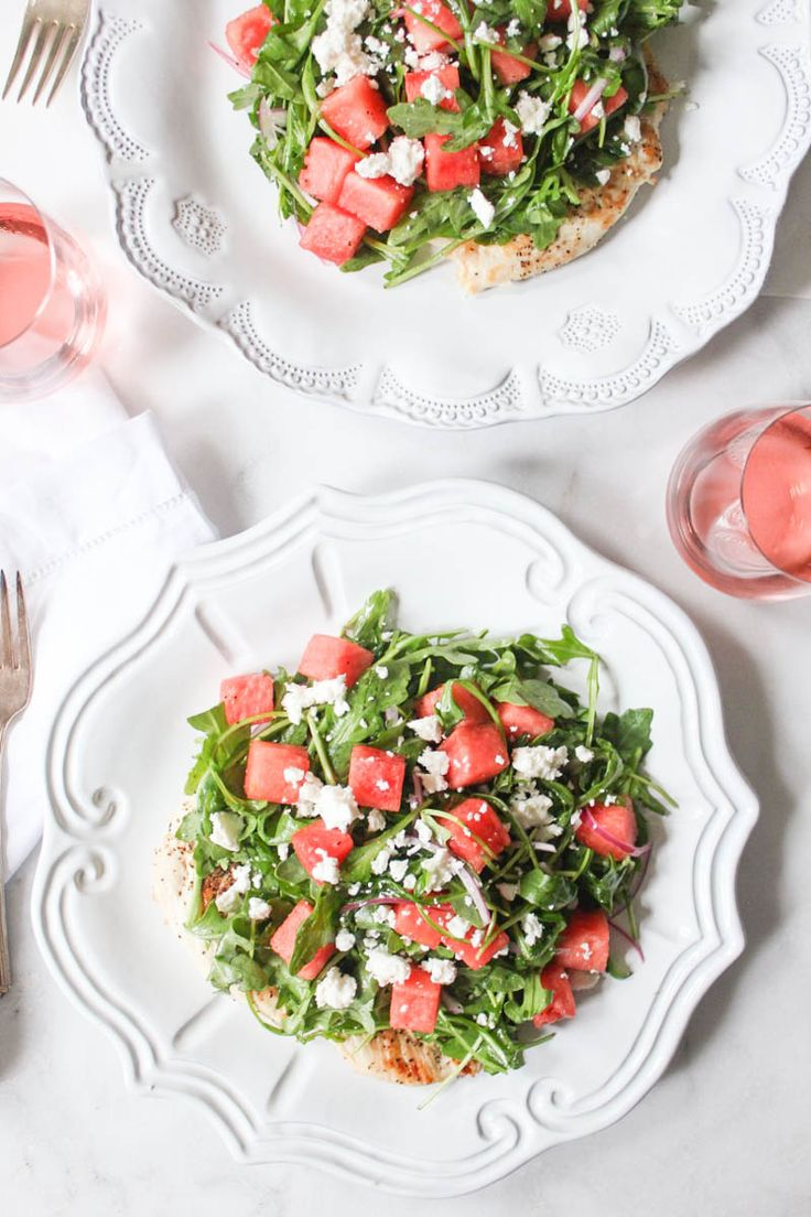 Chicken Paillard with Arugula and Watermelon Salad