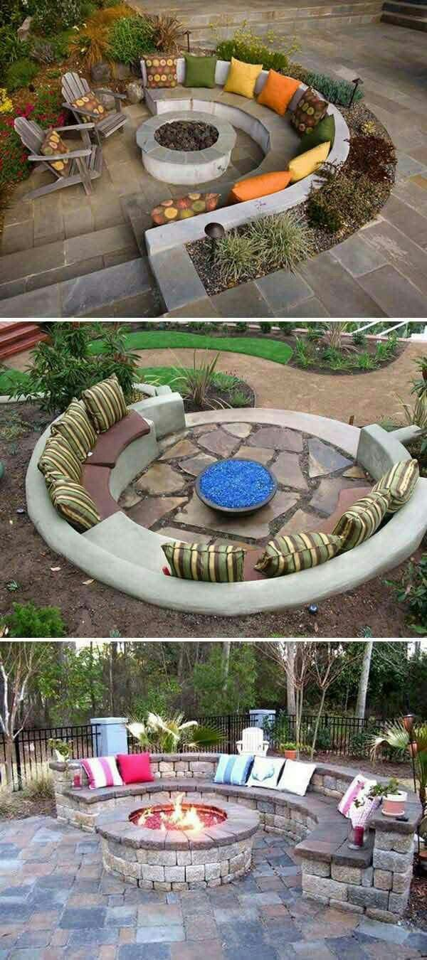 Garden ideas, fire pit and seating in garden, possible unused pond / empty pond idea