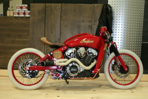 Sweet Baby Geez-us… a custom 2016 Indian Scout Sixty as a board track racer.