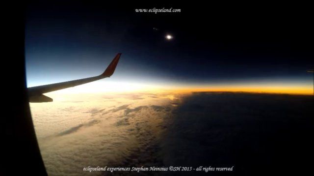 On 20. March 2015 a total solar eclipse was visible in the area between Iceland, Scottland and the Faröe Islands up to the North Pole. Eclipse Flight AB1234 from Düsseldorf to Düsseldorf flew through the umbra near the maximum eclipse point at an altitude of 35000 ft.