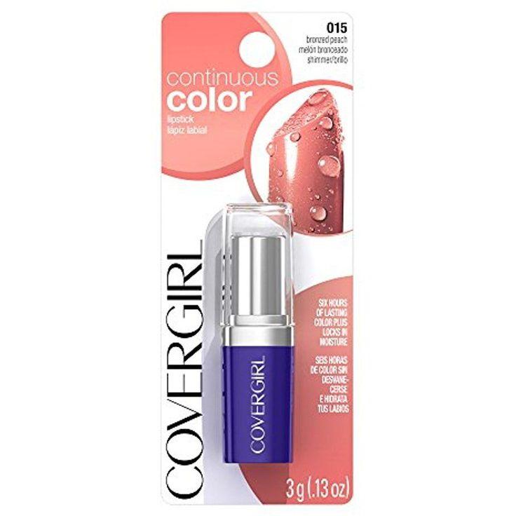 COVERGIRL Bronzed Peach Color Lipstick 6 Hour Lasting Vitamin A, E  015, .13 Oz #COVERGIRL