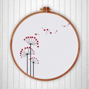 Modern Dandelion cross stitch pattern modern nature art instant download