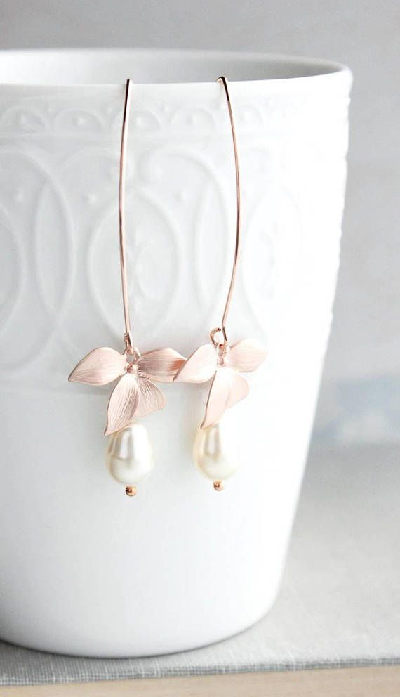 Rose Gold Earrings Flower Drop Orchid Dangle Earrings Ivory Etsy Rose Gold Drop Earrings Pearl Earrings Dangle Rose Gold Earrings