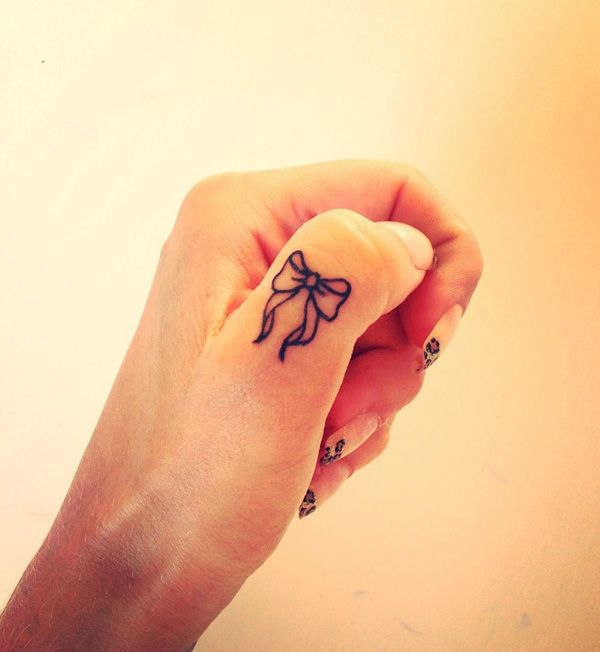 Bow Finger Tattoo. 55+ Cute Finger Tattoos | Cuded