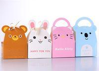 100 шт прекрасный кролик / Cat / медведь младенцы душ конфетная коробка животное дизайн подарочная коробка для детей день рождения поставки