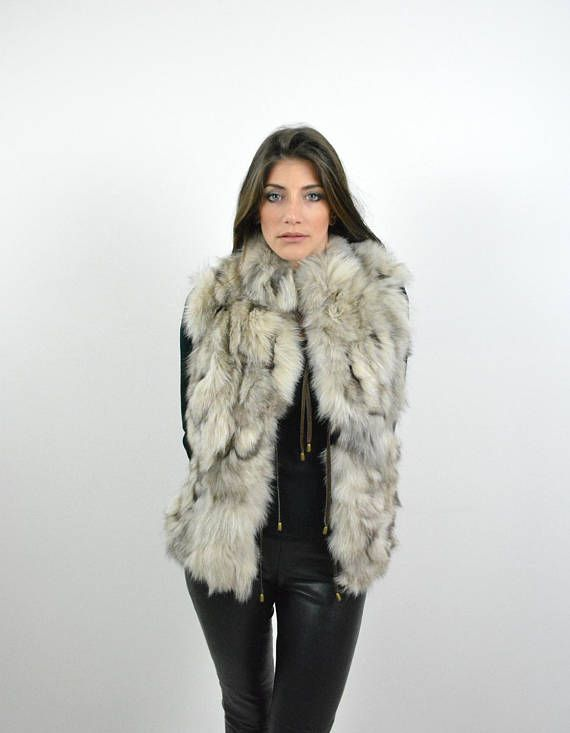 Real Fox Fur Jacket Sleeveless Vest Womens Jacket Fox Fur