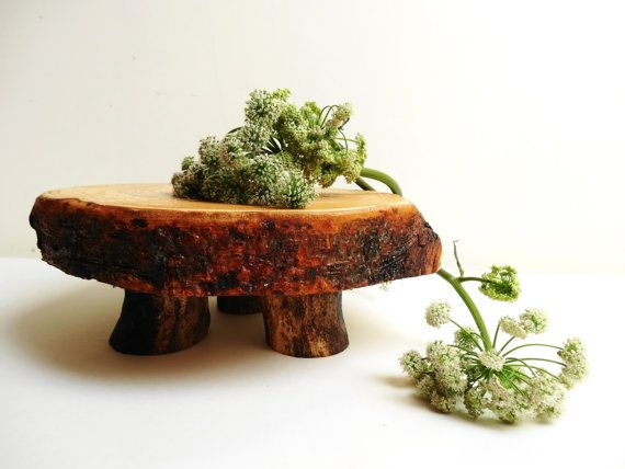 Wooden Stand Wood Pedestal Rustic Home Decor by DaliasWoodland