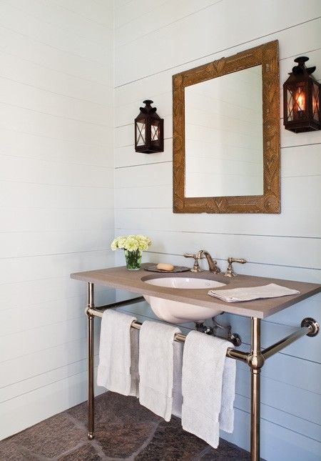 Cottage Bathroom Vanity  Simplicity and restraint are key elements of modern country decorating.