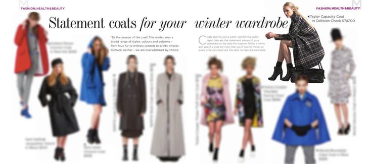 STATEMENTS COATS FOR YOUR WINTER WARDROBE  The latest issue of Metropol Magazine features our Capacity Coat in Collision Check. Shop Now --> www.taylorboutique.co.nz #taylor #taylorboutique #style #metropool #newzealand