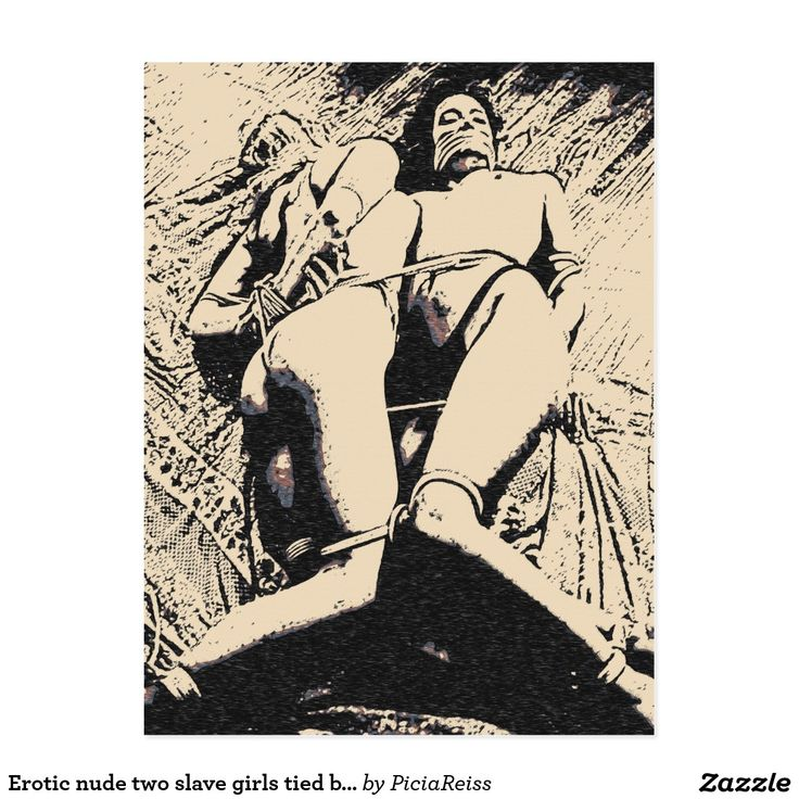 Erotic nude two slave girls tied black and white postcard