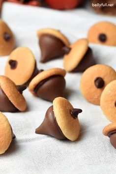 Chocolate Acorns are the cutest Fall or Thanksgiving treat! Made with Hershey'…