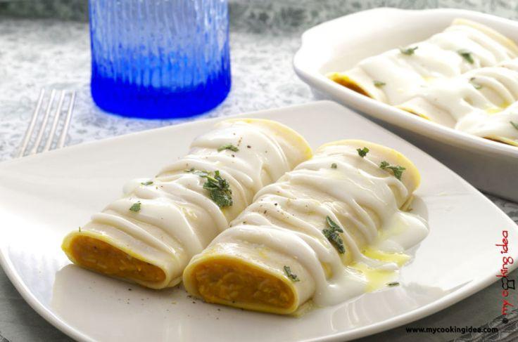 Cannelloni alla zucca, ricetta pasta - My cooking idea http://www.mycookingidea.com/2014/01/cannelloni-alla-zucca/