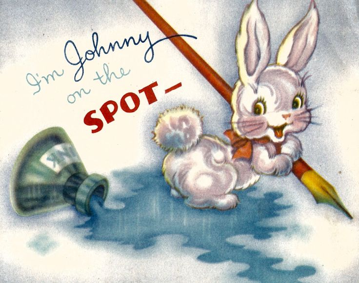 Vintage birthday get well thinking of you greeting card inkwell Johnny on the spot bunny rabbit pen digital download printable instant image by BigGDesigns on Etsy