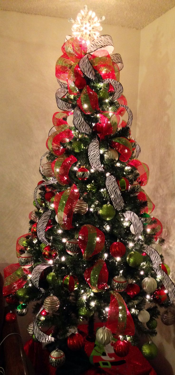 Zebra Red And Green Christmas Tree Christmas Tree