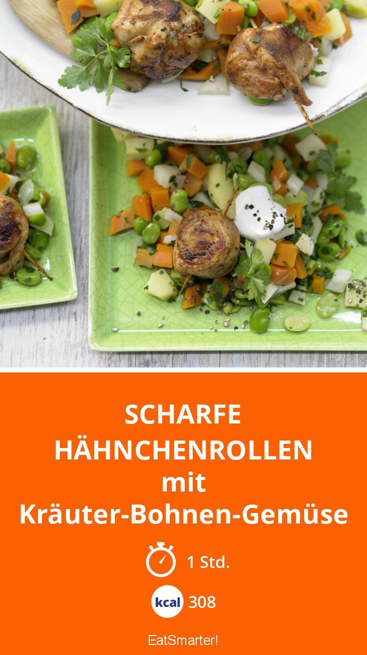 Scharfe Hähnchenrollen - mit Kräuter-Bohnen-Gemüse - smarter - Kalorien: 308 Kcal - Zeit: 1 Std. | eatsmarter.de