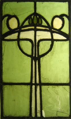 Arts & Crafts Leaded Glass Light Screen Panel. Coloured Glass with Lead Came. Scotland (Attributed). Circa 1900.