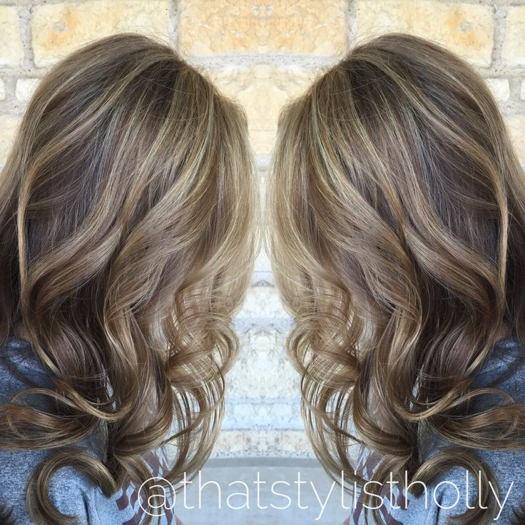 Balayage highlights hand painted sunkissed blonde Brunette