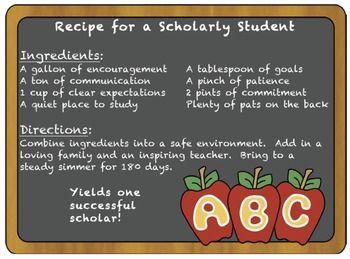 Parent Night - Recipe for a Scholarly Student Treat