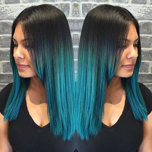 black into blue ombre  Raven Hair with Turquoise Blue Ombre Here's another style that prominently features straight, long locks. However, this time, the turquoise shade is used by the model to complement her charcoal black roots. The gradient works pretty impressively!