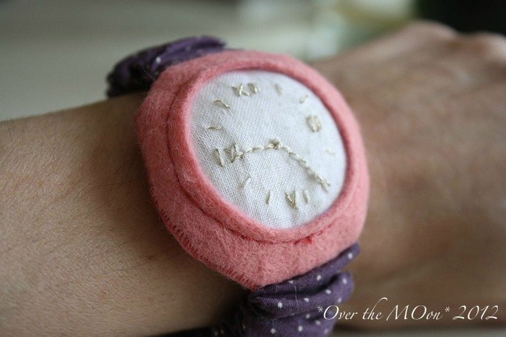 Dots fabric watch.Embroided with glow in the dark <3