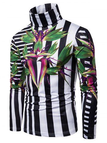 Plant Colorblock Stripe 3D Print Turtleneck T-shirt - Although most of us, as men, seem to be sloppy about clothing, in most cases we attach importance to quality and style dressing almost as much as women. I have compiled for you the life-saving clues of quality and style dressing so that we can be more successful in projecting it out. First of all I have to say that you don't have to wear expensive clothes to be stylish and stylish.  Set up your clothes 1 night in advance. I've written clues