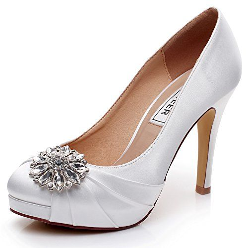 Satin Bridal Shoes Wedding Comfortable With Lace And Rhinestone Unique Design High Heel For Bride