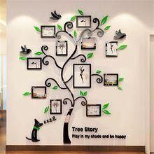 Acrílico Da Foto Quadros dercor Família parede Árvore Adesivos 3d Tridimensional adesivos de Parede em casa sala de estar Sofá TV adesivos de Parede Decalques de Arte(China (Mainland))