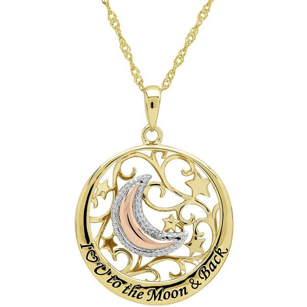 Diamond-Accent 14K Gold Over Sterling Silver Filigree Moon Pendant... ($167) ❤ liked on Polyvore featuring jewelry, necklaces, gold heart necklace, sterling silver chain necklace, heart pendant necklace, long gold necklace and sterling silver pendant necklace
