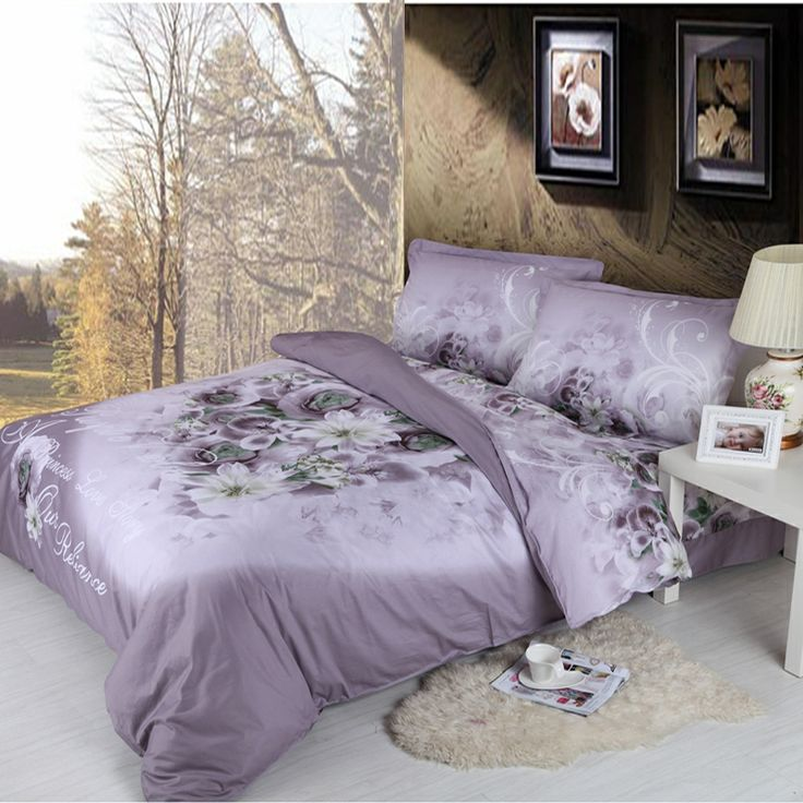 purple and white colored full queen size bedding sets